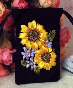 آموزش تصویری دوخت تزیینی گل آفتابگردان با روبان