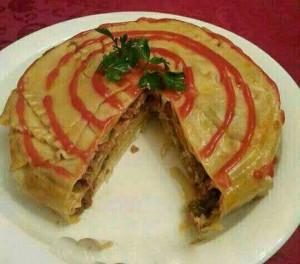 آموزش تصویری درست کردن لازانیا به شکل کیک